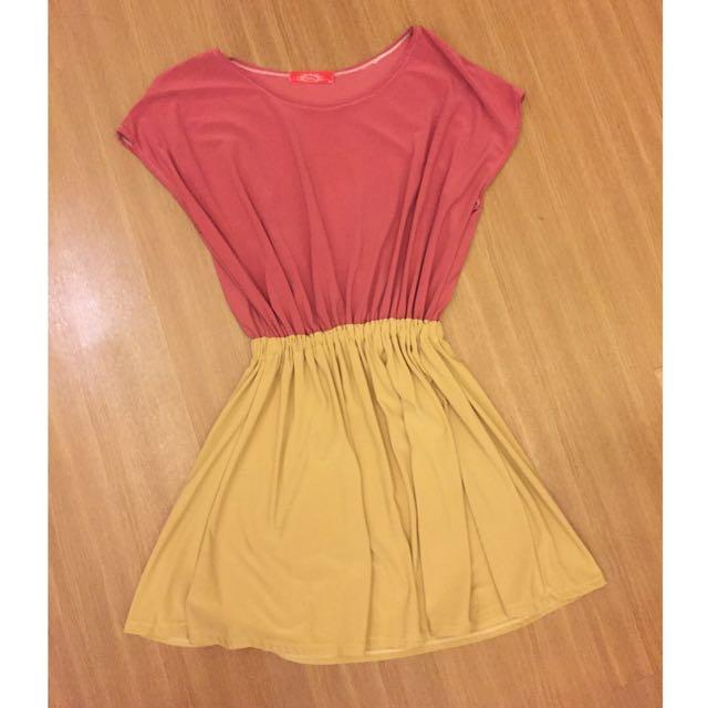Preloved Two Tone Mini Dress
