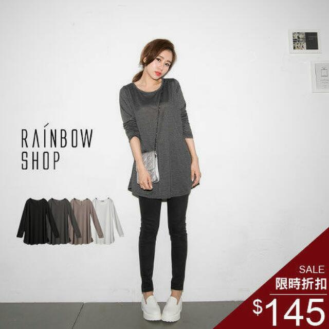 Rainbow Shop圓領傘擺棉質上衣  洋裝