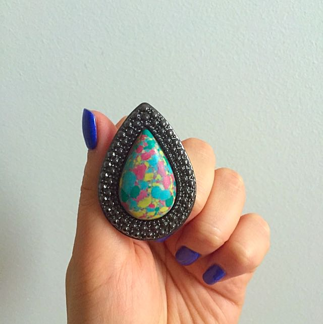 Samantha Wills Bohemian Bardot Multicoloured Stone Gunmetal Signature Ring