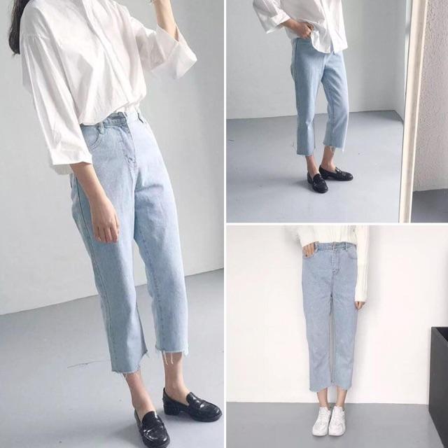 褲子/SuperC/淺色撕邊直筒牛仔褲 #029047