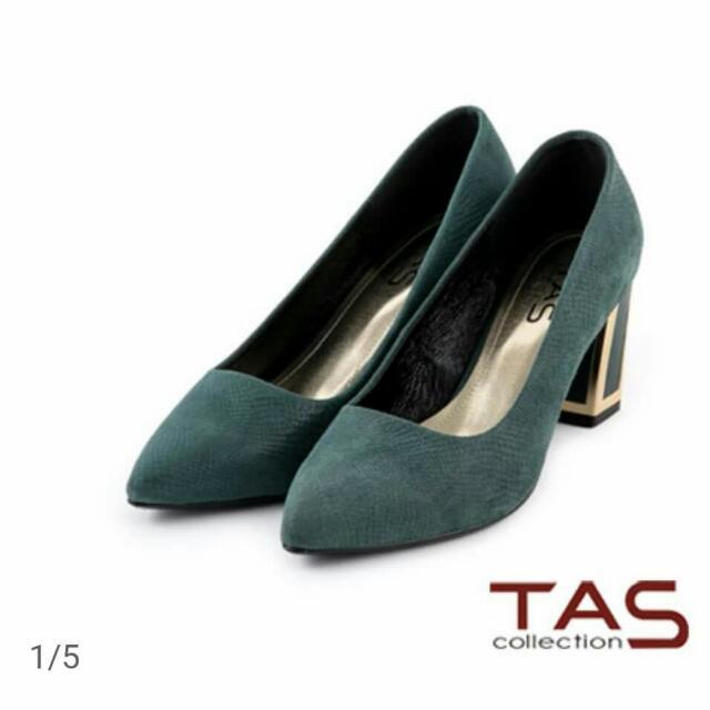 (全新)TAS壓紋羊皮墨綠高跟鞋 22號(23可穿)