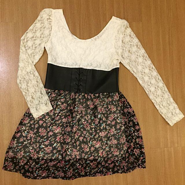 Tile Flower Mini Dress (preloved)