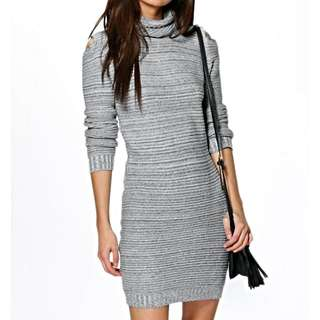 Boohoo Bodycon Grey Knitted Winter Dress
