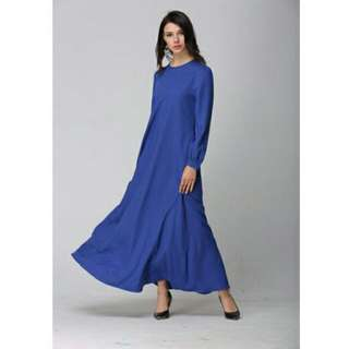 Electric Blue Side Pocket Casual Jubah