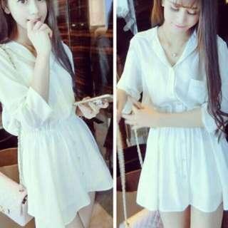 White Coloured Chiffon 3/4 Sleeves Dress ( Instock )