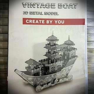3d Metal Model- Vintage Boat