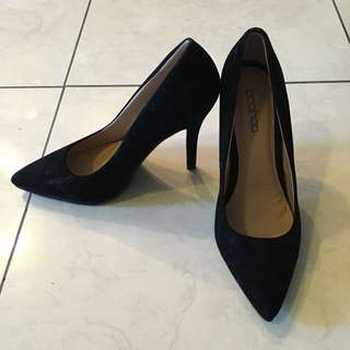 Suedette Pointed Black Court Heels