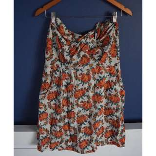 Burnt Orange Floral Strapless Dress