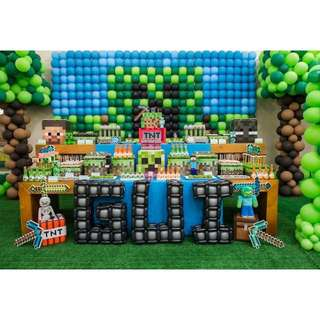 MINECRAFT Themed Birthday Party (Party Supplies) Pls CHAT with us for the detailed/specific product listing & price.. We Have wide range of stocks pre printed & personalized...