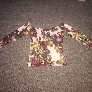 Boohoo Sexy Off The Shoulder 3/4 Sleeve Crop Top