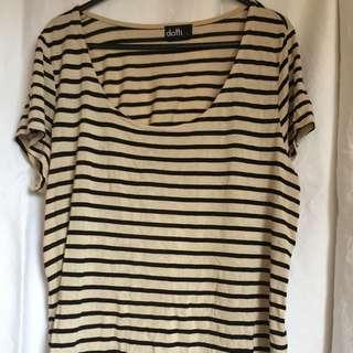Dotti Beige/ Black Scoop Neck Tshirt