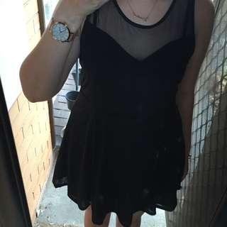 H&M Black Sweetheart Mesh Insert Dress