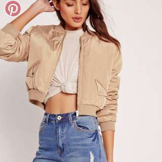 Brand New Missguided Crop Bomber Jacket
