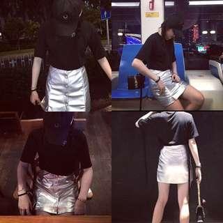 銀色一排釦個性包臀短裙
