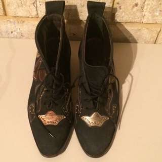 Vintage Metallic Lace Up Ankle Boots Size 38