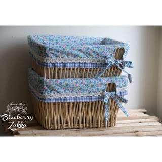 鄉村風格 柳編棉麻藍色小碎花布套 方形高肚收納箱 / 水果籃