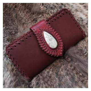 Handmade Roo Leather Bohemian Wallet With Stone Inlay