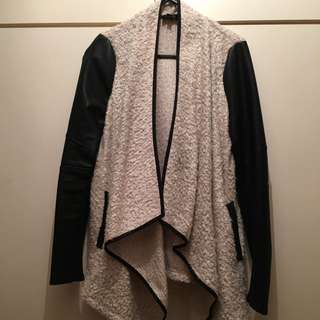 Bardot Cardigan/Knit With Faux Leather Sleeves