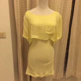 義大利品牌Diesel黃色長版衣 洋裝