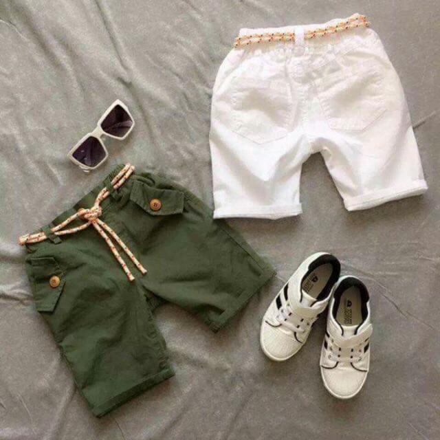 韓風口袋平織褲(白,綠)