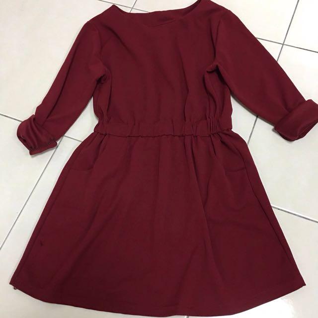 🎀秋冬酒紅色洋裝(喜酒、過年、春酒、謝師宴)💕✨