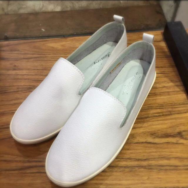 🎉降價🎉正韓白色真皮懶人鞋