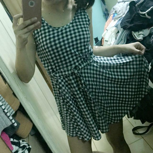 黑白棉質格子洋裝