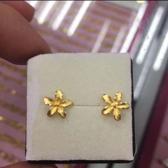 [銀樓]純金氣質款花朵🌺耳環