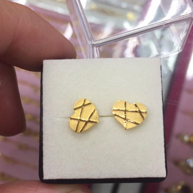[銀樓]純金巧克力🍫愛心耳環