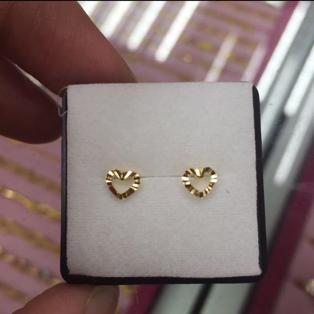 [銀樓]純金鏤空愛心💗耳環