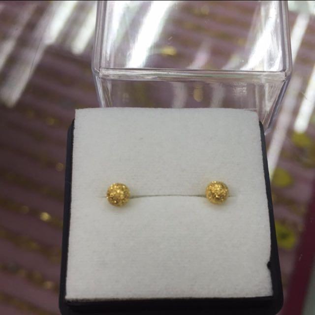 [銀樓]迷你版純金金莎球球耳環