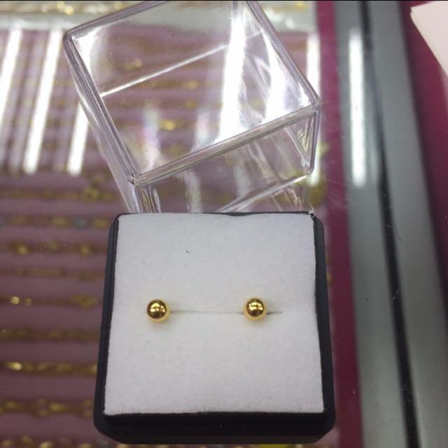 [銀樓]迷你版純金光滑球球耳環