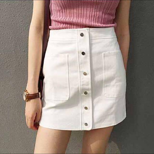 復古單排扣高腰短裙 白色