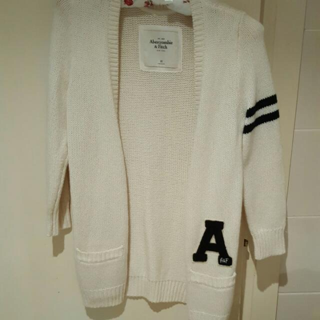 BNWT Abercrombie & Fitch Cream And Black Preppy Woollen Cardigan XS