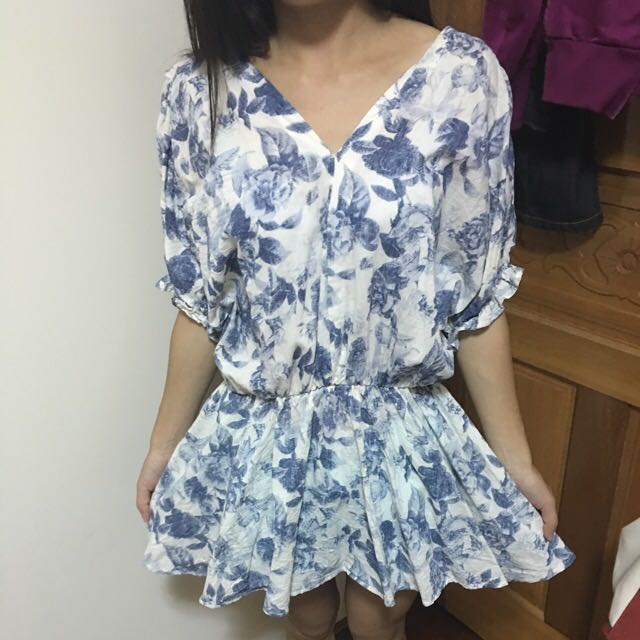 大C領印花裙