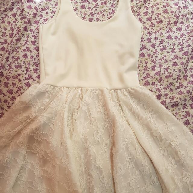 Cream Cocktail Dress With Lace Skirt