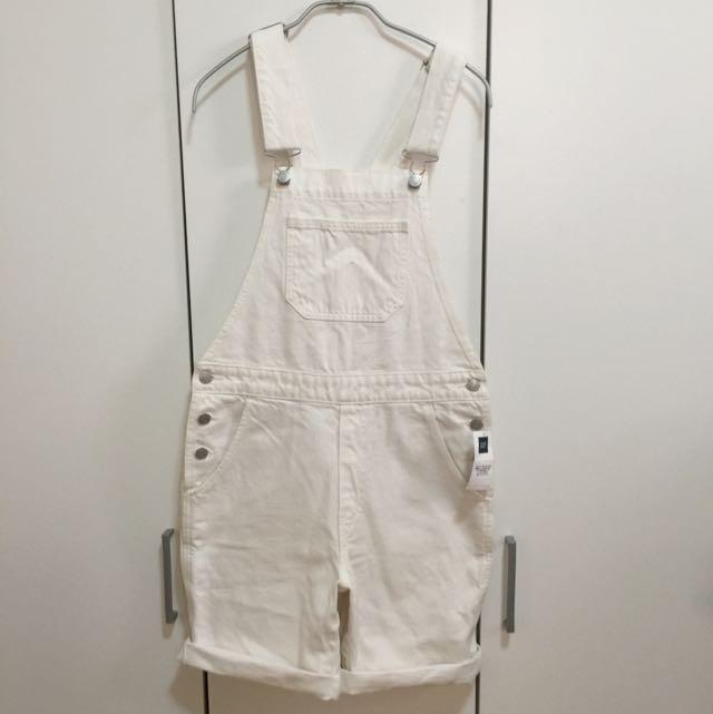 全新Gap白色牛仔吊帶短褲