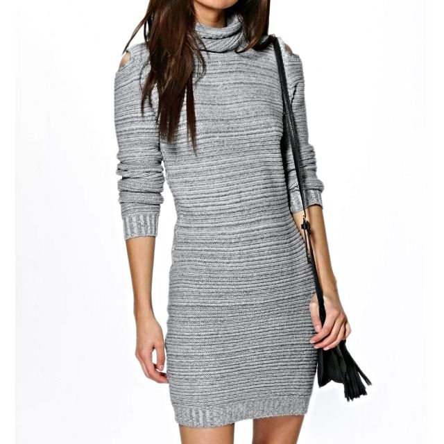 Boohoo Bodycon Grey Knitted Winter Dress