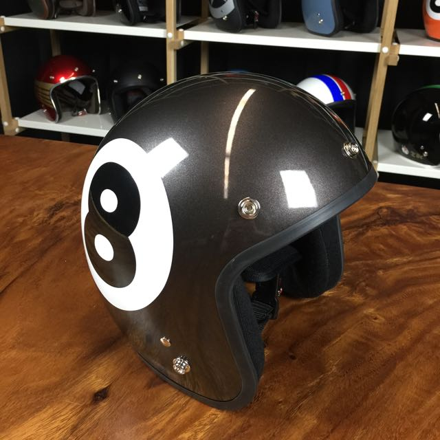 Lucky 8 Auto >> Retro Helmet Lucky 8 Metallic Grey Auto Accessories On Carousell