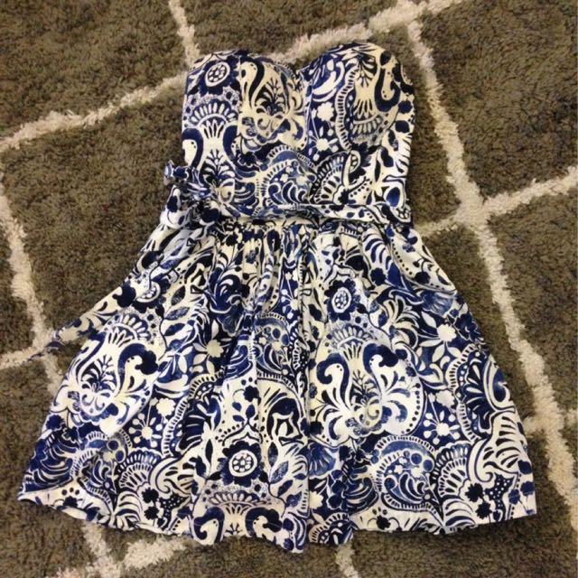Strapless Blue & White Dress