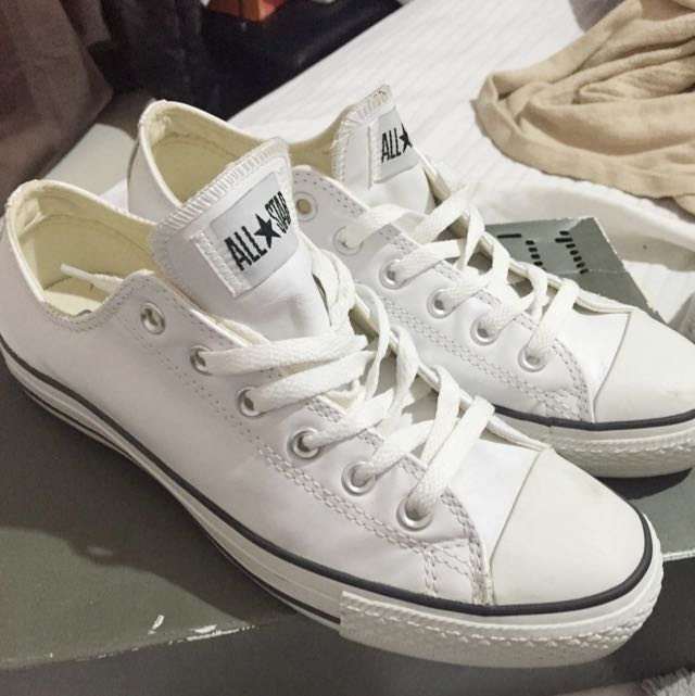 PENDING White Leather Converse
