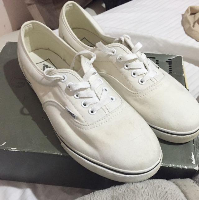 White Vans Mens 9/ Womens 10.5