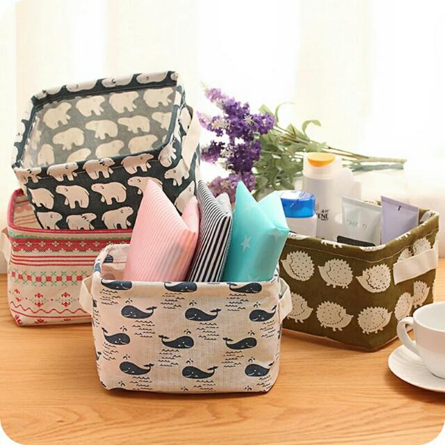創意簡約zakka風格棉麻布藝防水桌面雜物收納盒