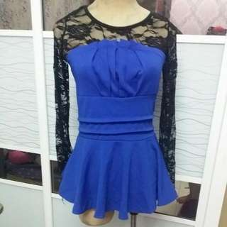 Peplum Blue Top
