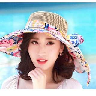 日韓夏季花樣圖案竹編多功能遮陽帽 Ca4la 參考