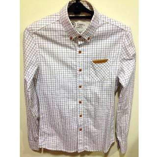 韓製 高質感 卡其&藍色線條 皮革造型口袋 細格紋襯衫