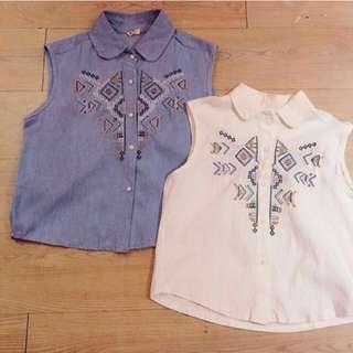 全新 日本 胸前幾何圖騰刺繡口袋削肩背心襯衫(白)