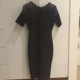 Missguided Mesh Panel Midi Dress