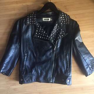 Faux Leather Crop Jacket Studded Biker Grunge Goth Rave Winter