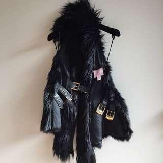 Versace For H&M Faux Fur Vest Size US 4 AUS Size 6 New